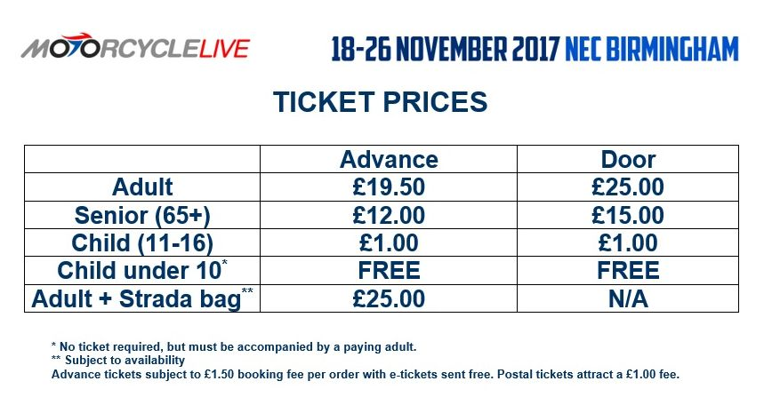 Motorcycle Live ticket prices